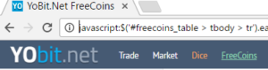 JavaScript for free cryptocurrency coins
