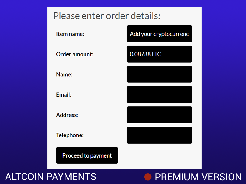 Accepting altcoin payments
